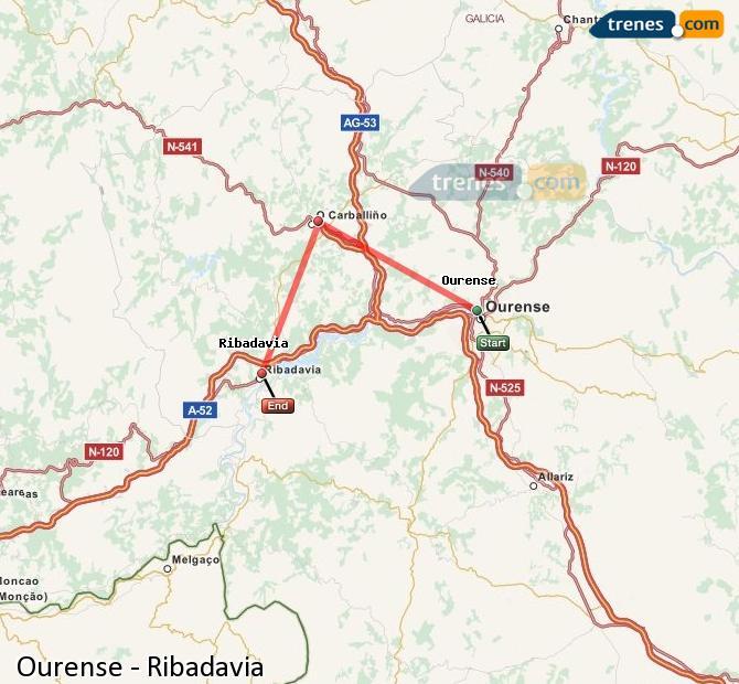 Karte vergrößern Züge Ourense Ribadavia