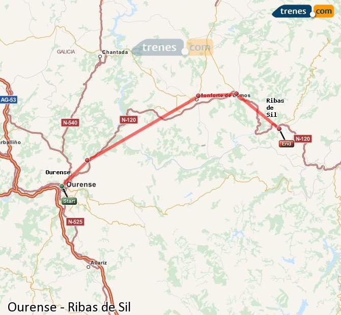 Karte vergrößern Züge Ourense Ribas de Sil
