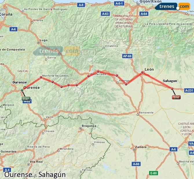 Karte vergrößern Züge Ourense Sahagún
