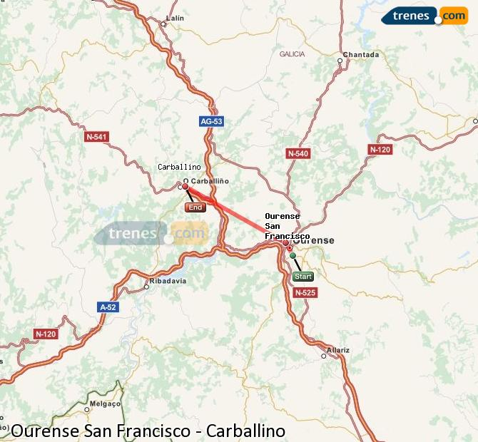Enlarge map Trains Ourense San Francisco to Carballino