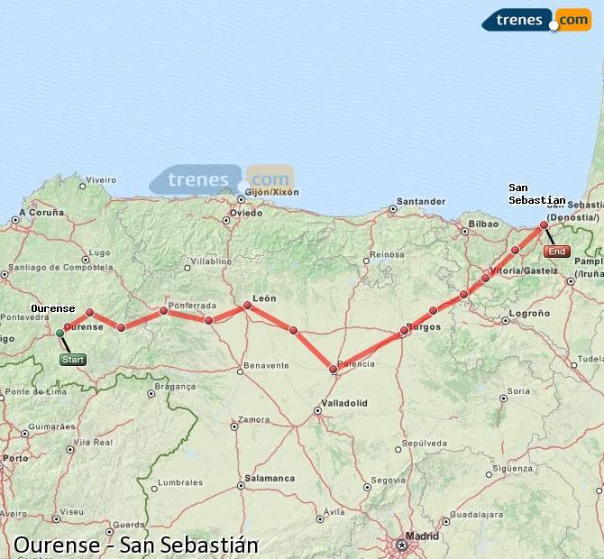Karte vergrößern Züge Ourense San Sebastián