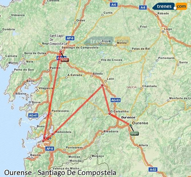 Enlarge map Trains Ourense to Santiago de Compostela