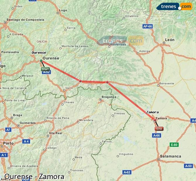 Enlarge map Trains Ourense to Zamora