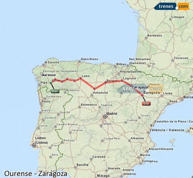 Ingrandisci la mappa Treni Ourense Zaragoza