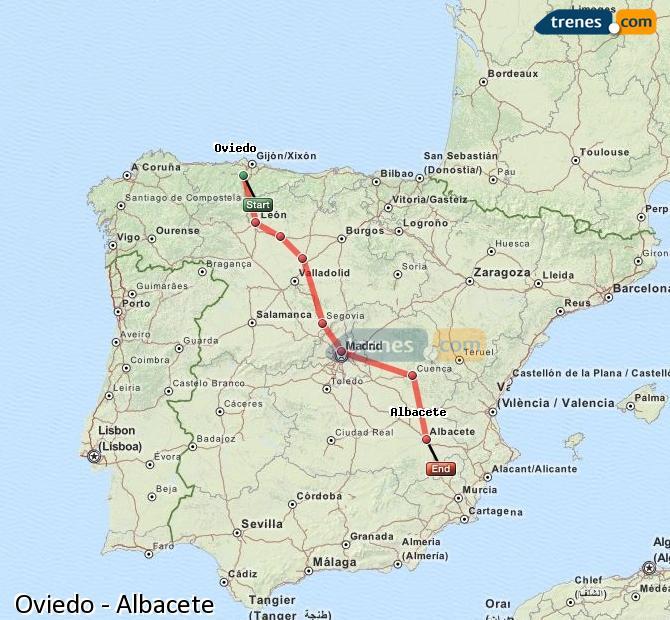 Ingrandisci la mappa Treni Oviedo Albacete