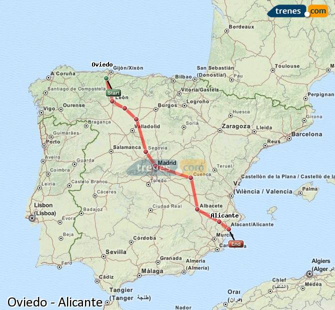 Agrandir la carte Trains Oviedo Alicante