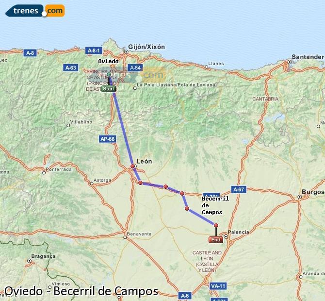Ingrandisci la mappa Treni Oviedo Becerril de Campos