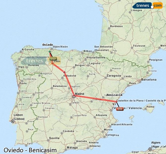 Ingrandisci la mappa Treni Oviedo Benicasim