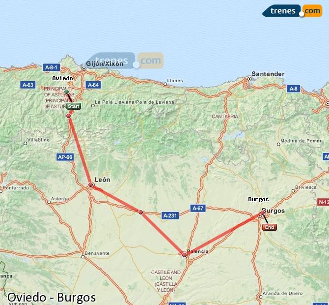 Ingrandisci la mappa Treni Oviedo Burgos