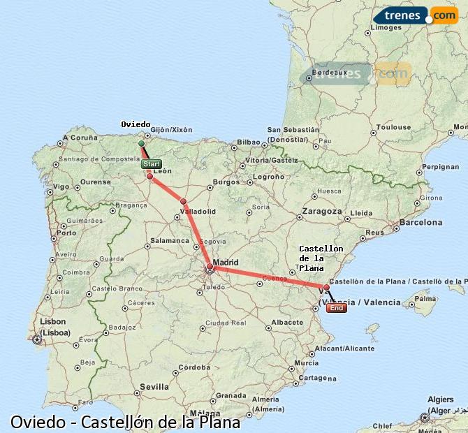 Ingrandisci la mappa Treni Oviedo Castellón