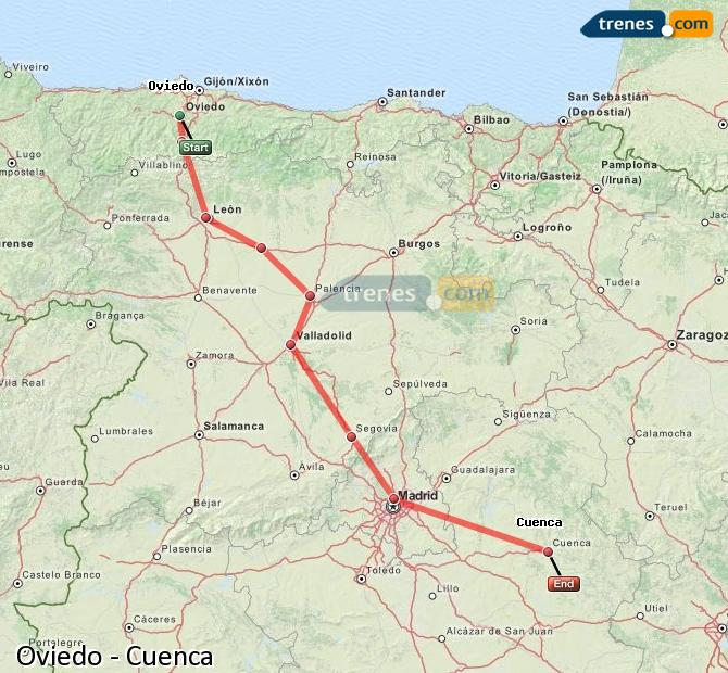 Ingrandisci la mappa Treni Oviedo Cuenca