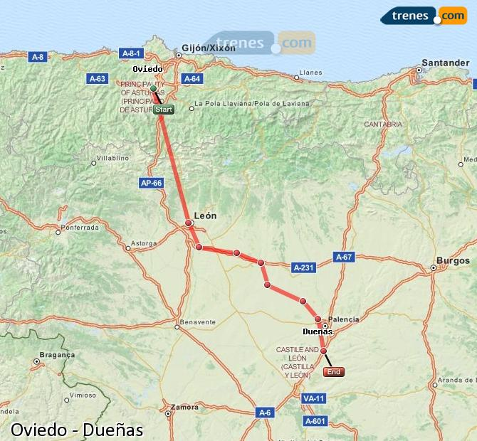 Enlarge map Trains Oviedo to Dueñas