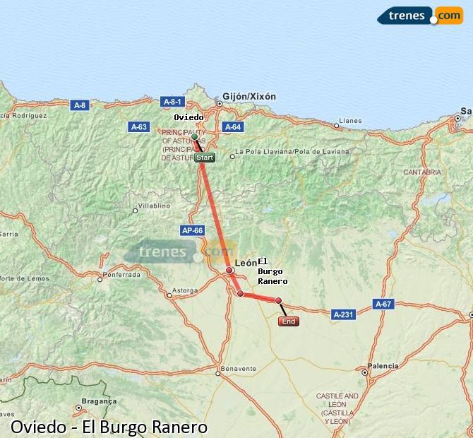 Ingrandisci la mappa Treni Oviedo El Burgo Ranero