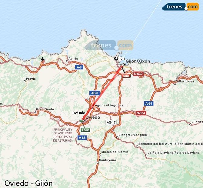 Karte vergrößern Züge Oviedo Gijón