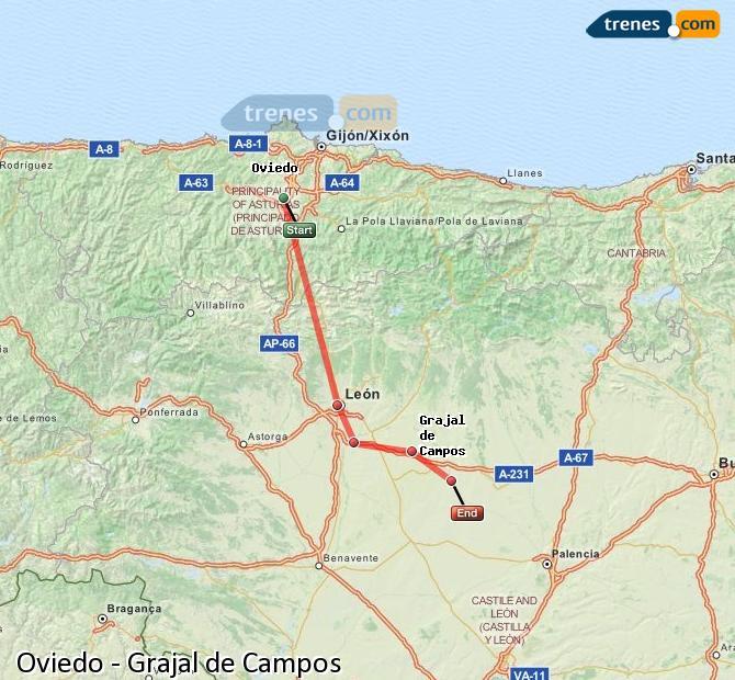 Ingrandisci la mappa Treni Oviedo Grajal de Campos