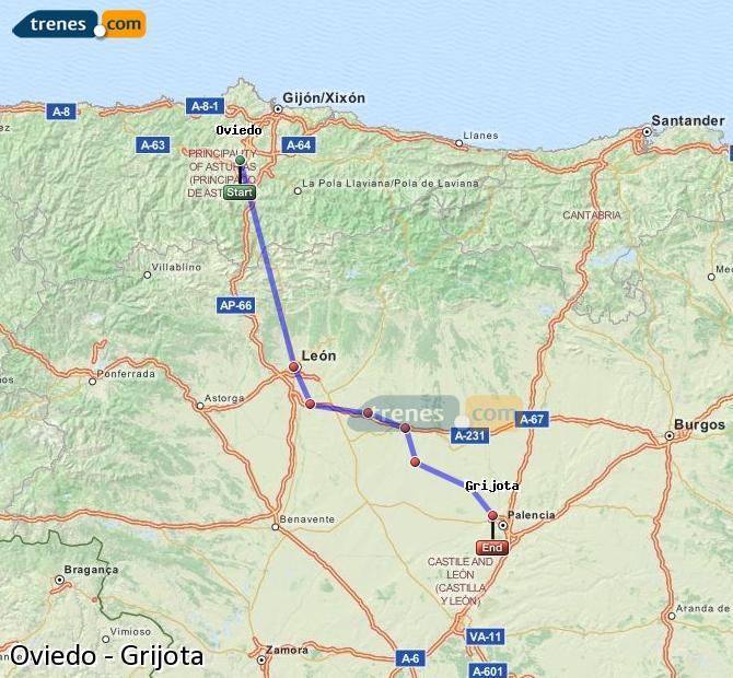Ingrandisci la mappa Treni Oviedo Grijota