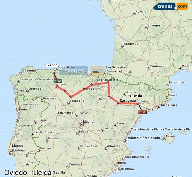 Ingrandisci la mappa Treni Oviedo Lleida