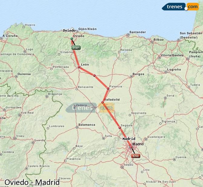 Ampliar mapa Trenes Oviedo Madrid