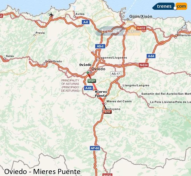 Enlarge map Trains Oviedo to Mieres Puente
