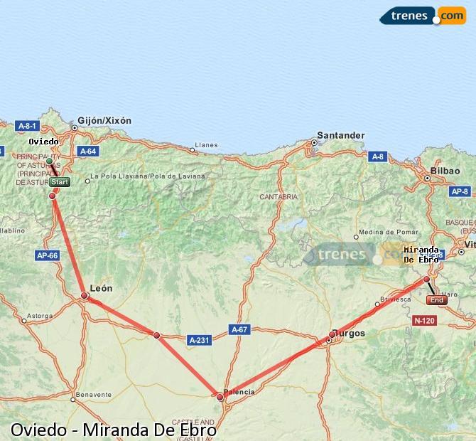 Ingrandisci la mappa Treni Oviedo Miranda De Ebro