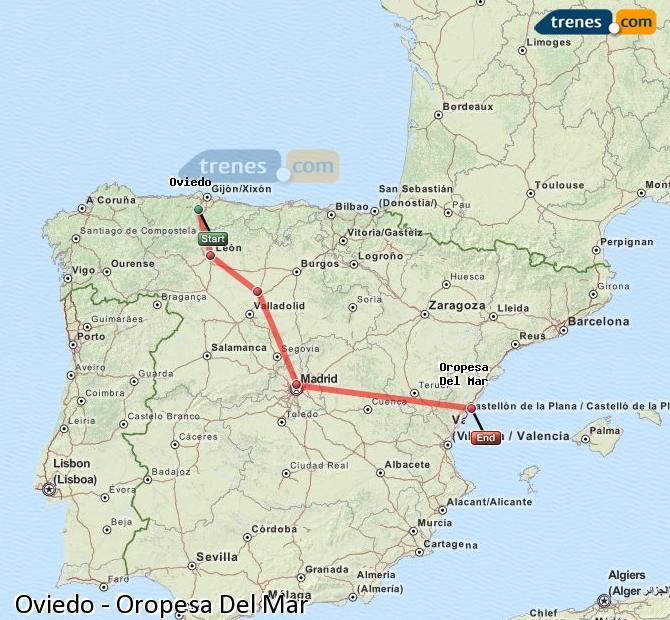 Karte vergrößern Züge Oviedo Oropesa Del Mar