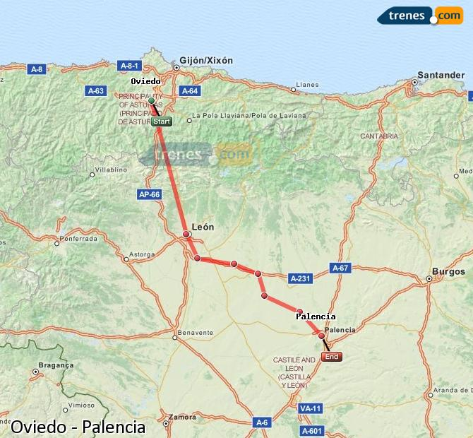 Ingrandisci la mappa Treni Oviedo Palencia
