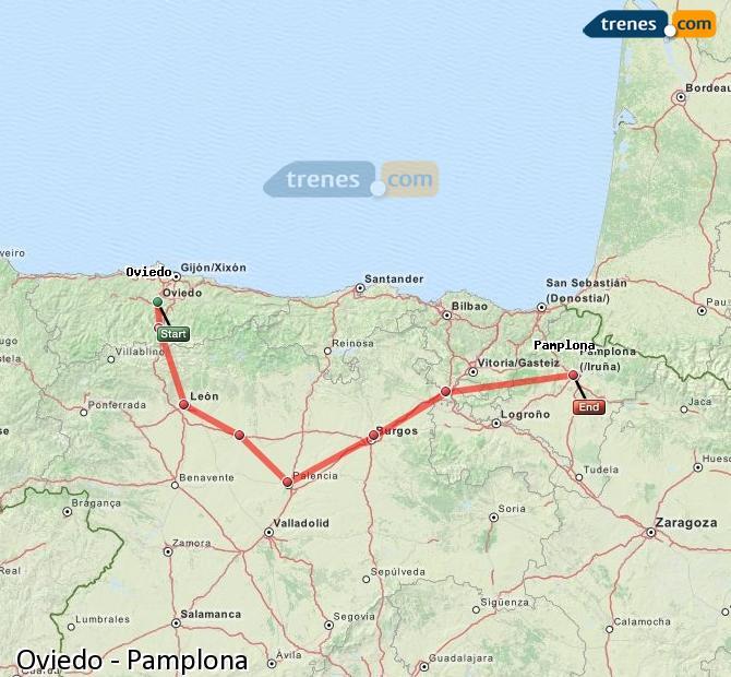 Ingrandisci la mappa Treni Oviedo Pamplona