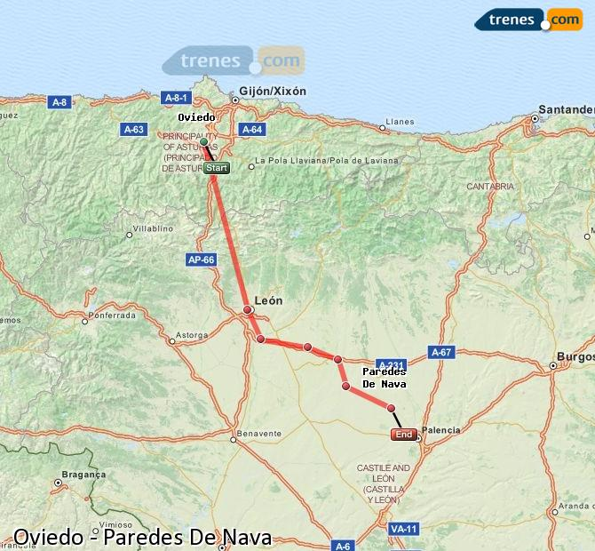 Ampliar mapa Comboios Oviedo Paredes De Nava