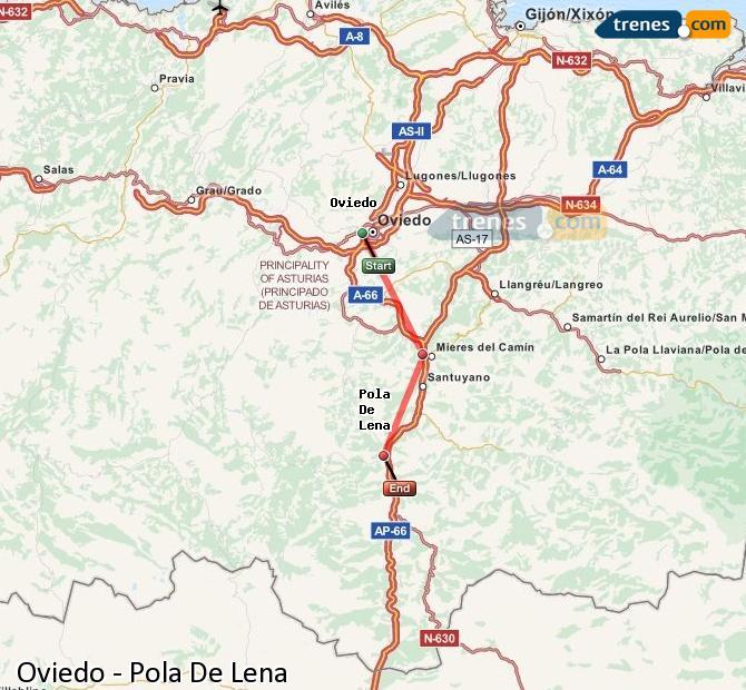Agrandir la carte Trains Oviedo Pola De Lena