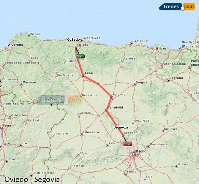 Enlarge map Trains Oviedo to Segovia