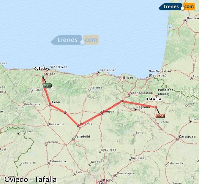 Agrandir la carte Trains Oviedo Tafalla