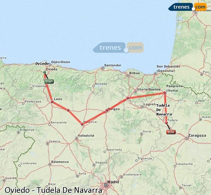Ingrandisci la mappa Treni Oviedo Tudela De Navarra