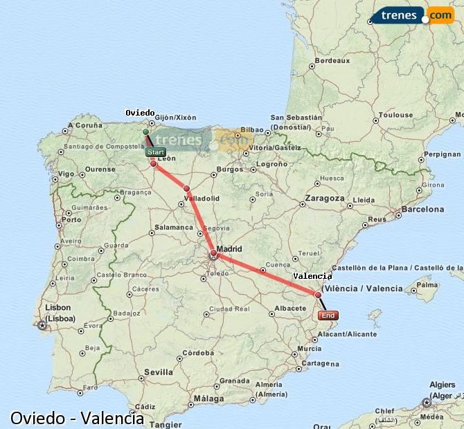 Enlarge map Trains Oviedo to Valencia