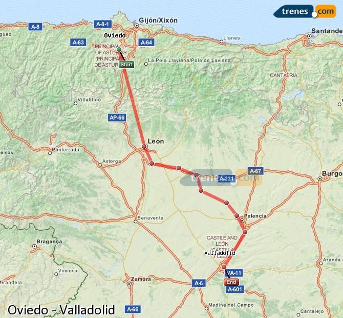Ingrandisci la mappa Treni Oviedo Valladolid