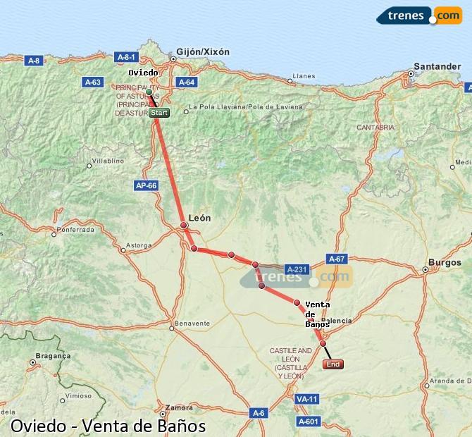 Enlarge map Trains Oviedo to Venta de Baños