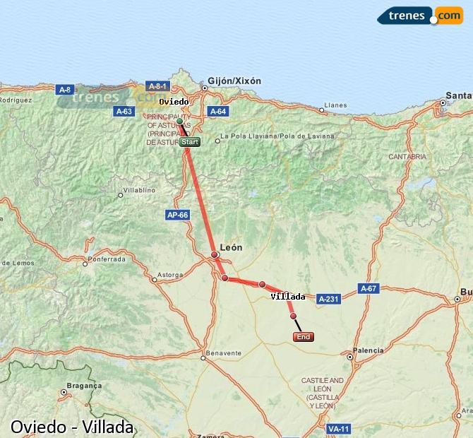 Enlarge map Trains Oviedo to Villada