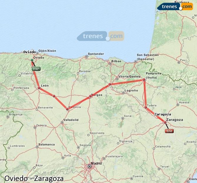 Ingrandisci la mappa Treni Oviedo Zaragoza