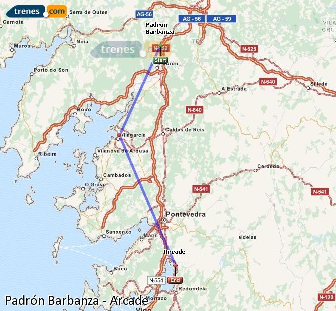Ampliar mapa Trenes Padrón-Barbanza Arcade