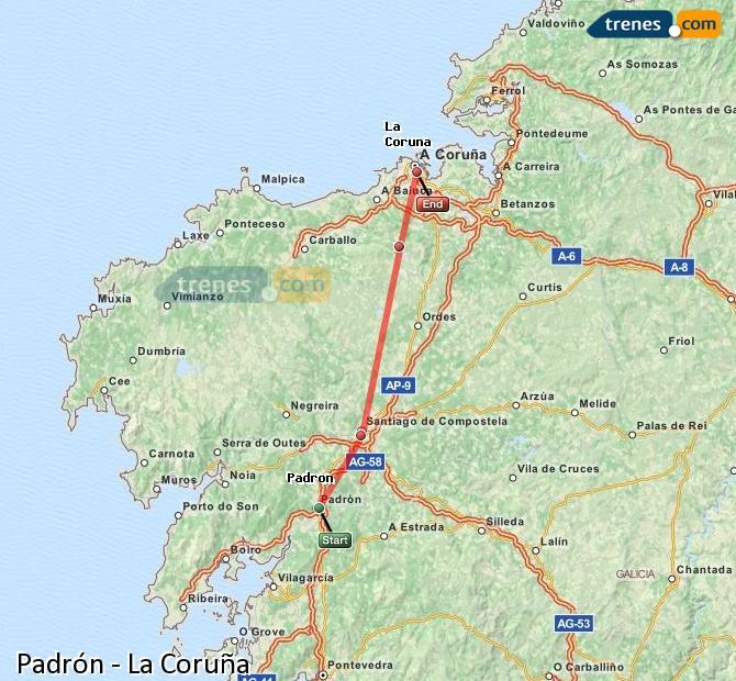 Enlarge map Trains Padrón to La Coruña