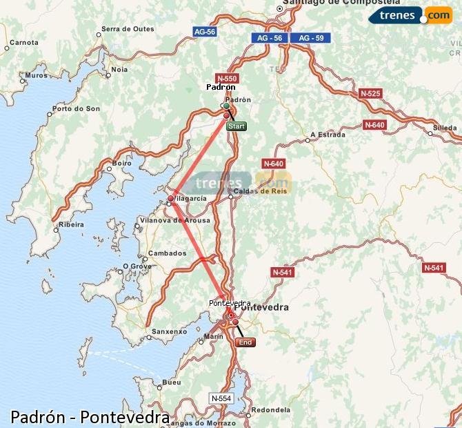 Enlarge map Trains Padrón to Pontevedra