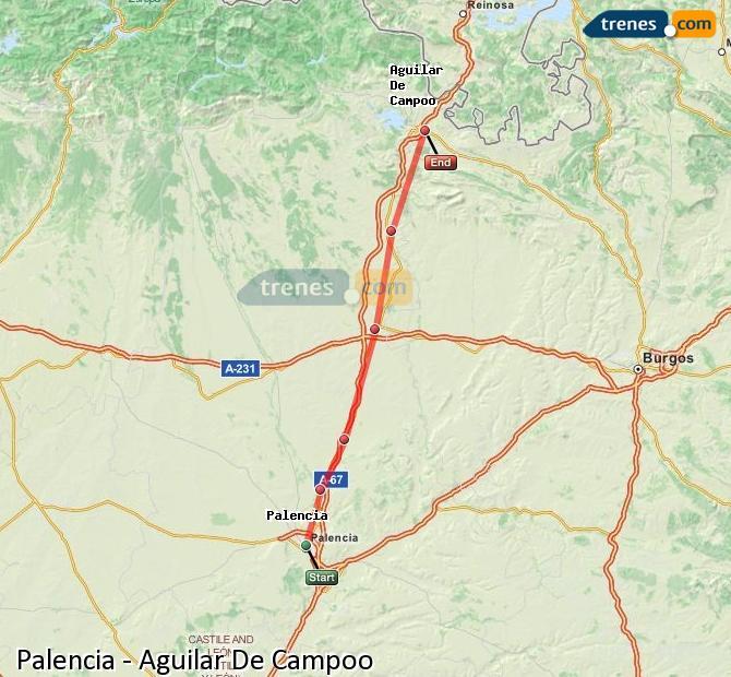 Ampliar mapa Trenes Palencia Aguilar De Campoo