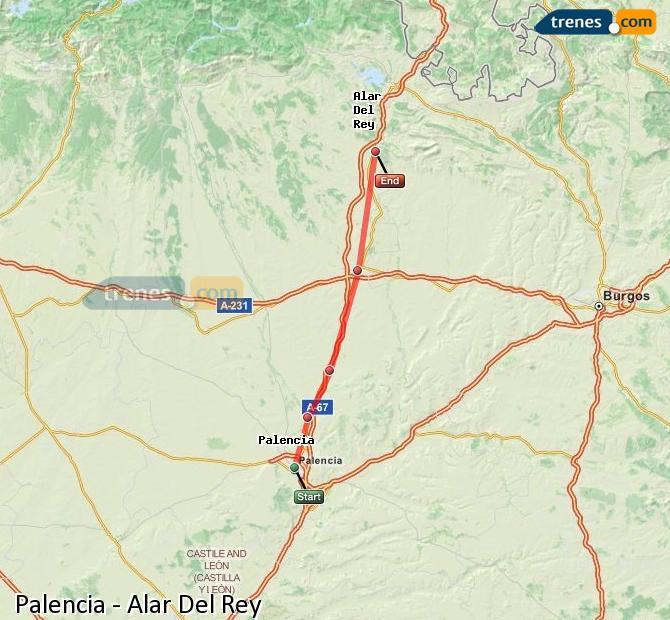 Ampliar mapa Trenes Palencia Alar Del Rey