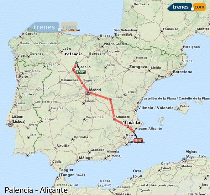 Ampliar mapa Comboios Palencia Alicante