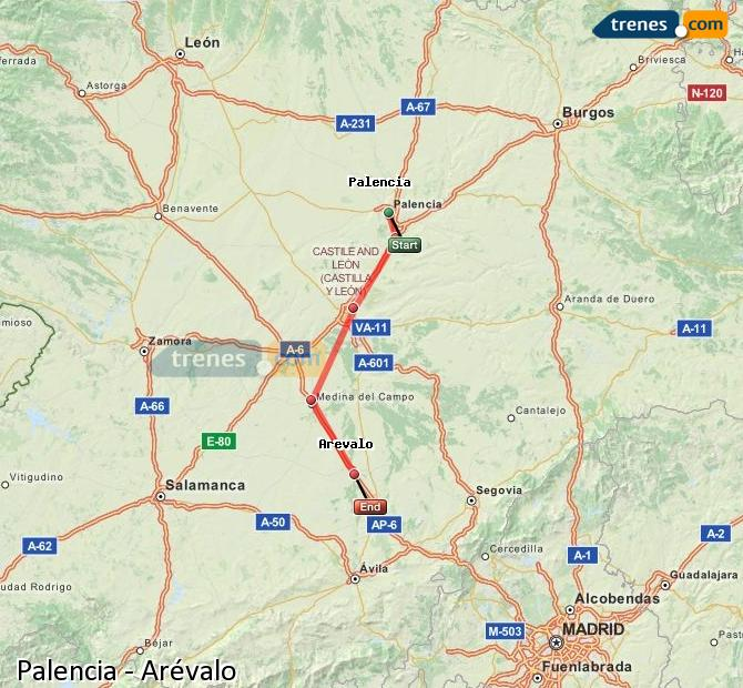 Ingrandisci la mappa Treni Palencia Arévalo