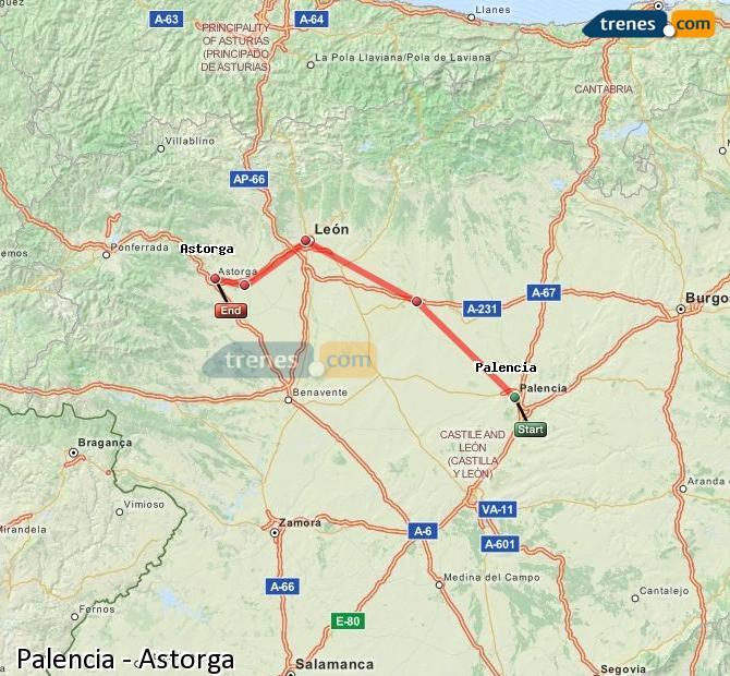 Ingrandisci la mappa Treni Palencia Astorga