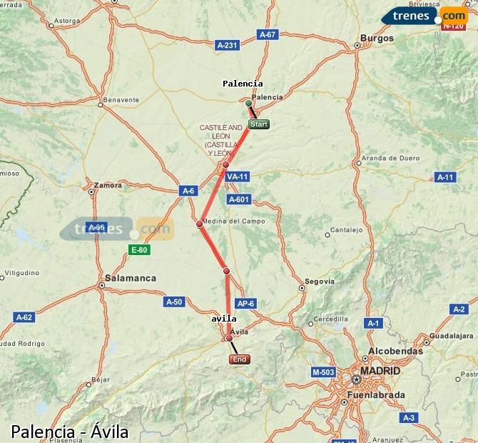 Karte vergrößern Züge Palencia Ávila