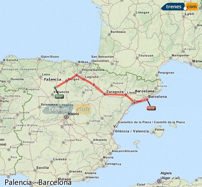 Enlarge map Trains Palencia to Barcelona