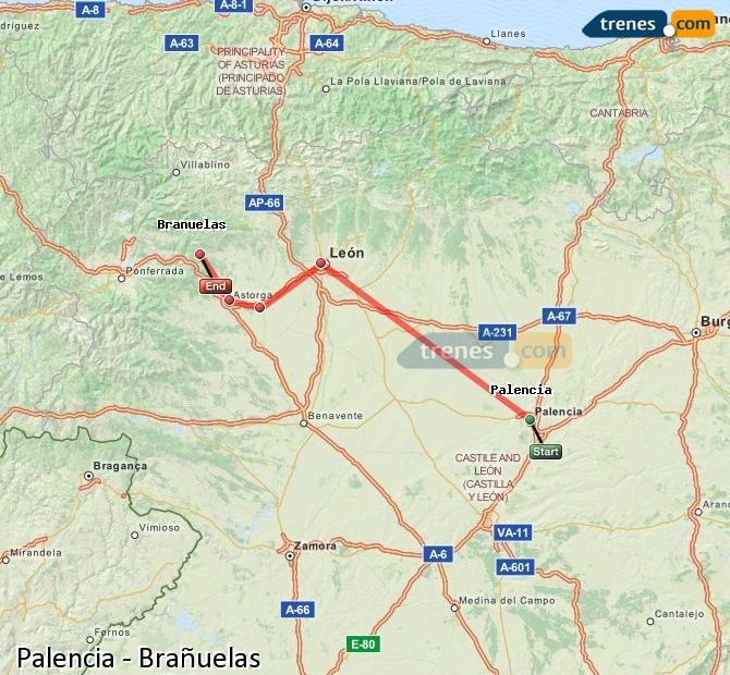 Agrandir la carte Trains Palencia Brañuelas