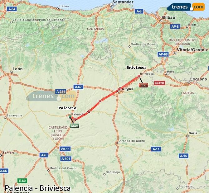 Ingrandisci la mappa Treni Palencia Briviesca