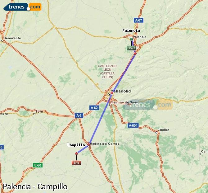Enlarge map Trains Palencia to Campillo